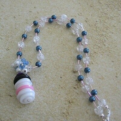 Handmade Button Snowman with Blue and White Glass Bead Necklace and Earrings
