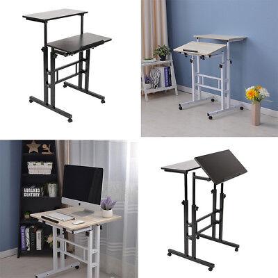 Rolling Laptop Computer Desk Height Adjustable Mobile Workstation Table Notebook