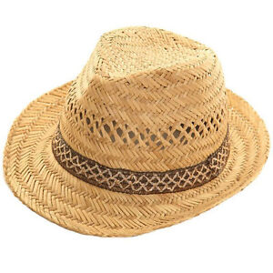 Straw Trilby Ladies Mens Fedora 100% Straw Sun Hat Black Brown Band