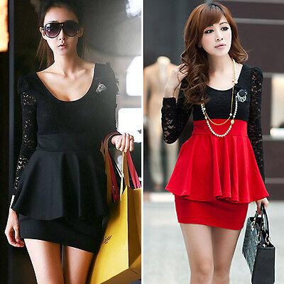 Womens Lace Party Cocktail Mini Dress Ladies Summer Short  Long Sleeve  Dress - Lace Short Dress Shorts