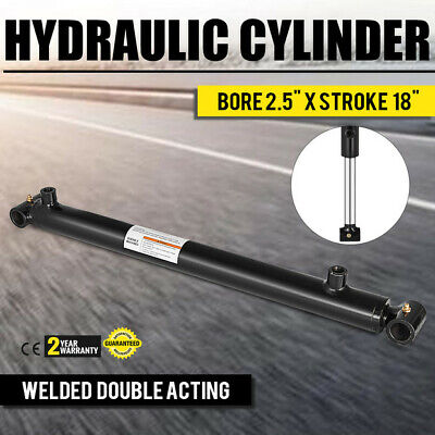Hydraulic Cylinder 2.5 Bore 18 Stroke Double Acting Top Cross Tube Welded