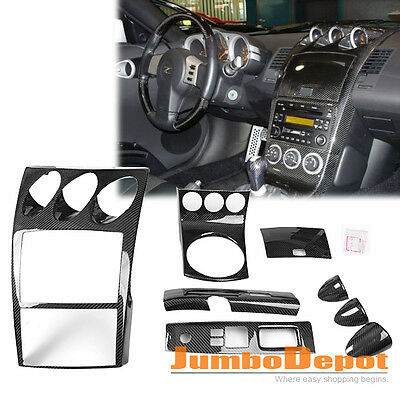Carbon Fiber Manual Shifter Console Switch Gauge Cover For 03 05 Nissan 350z Z33 Ebay