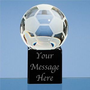 Engraved Personalised Glass Football Paperweight - Birthday Best Coach Player