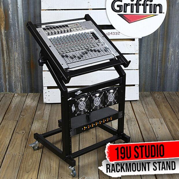 GRIFFIN Rack Mount Stand – Music Studio Recording Mixer Cart Rail Gear Holder