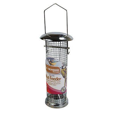 Deluxe Metal Bird Nut Feeder + 100g Peanuts Wire Mesh Garden Attract Wild Birds