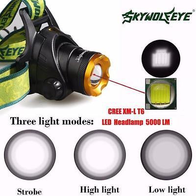 5000 Lm  XM-L XML T6 LED Headlamp Headlight flashlight head light lamp 18650