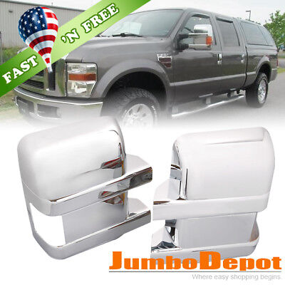 US Chrome Door Full Mirror Cover LH+RH For Ford F250 F350 F450 Super Duty 08-16