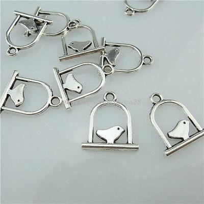 14046 50PCS Vintage Silver Tone Alloy Mini Bird Birdcage Pendant Charms