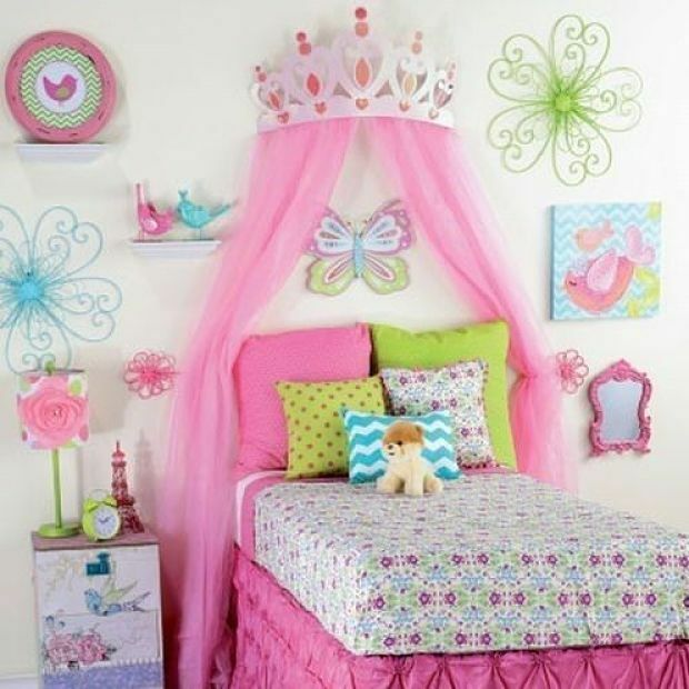 Princess Room Decor For Girls Large Pink Metal Crown Bedroom