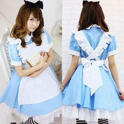 Alice in Wonderland Maid Lolita Blue Dress Costume For Halloween Cosplay Party - Costumes For Adults