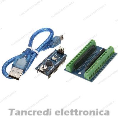 Screw shield + arduino NANO V3.0 + cavo mini USB morsettiera connettori modulo