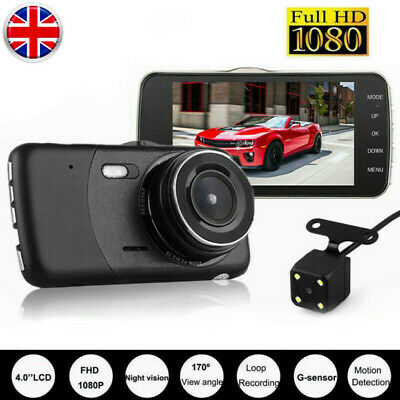 """4"""" Vehicle HD 1080P Dual Lens Car Dash Cam Front And Rear DVR Camera Video 170°"""
