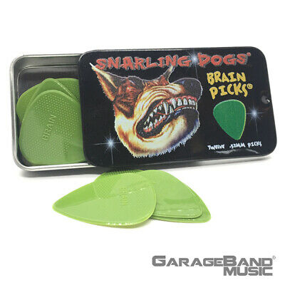 Brains Dog (Snarling Dogs Brain Guitar Picks Green .53 mm 12 picks with Tin Box )