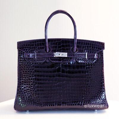 New Amethyste Croc With Silver 35Cm Hermes Birkin Bag