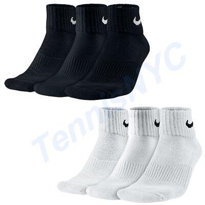 NIKE 3 Pack Quarter Cushioned Tennis Socks Running Golf Unisex SX4703, M, L   Cushion Tennis Quarter Socks