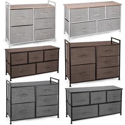 Fabric 5 Drawer Storage Tower Organizer Dark Grey Multi-Bin Cube Dresser Dorm