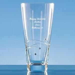 Personalised Engraved Diamante Crystal 20cm Swirl Vase  Anniversary Wedding