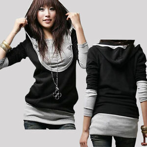 Women-Lady-Long-Sleeve-Cotton-Tops-Dress-T-shirt-Shirt-Hat-Hooded-Black-Coat-Z