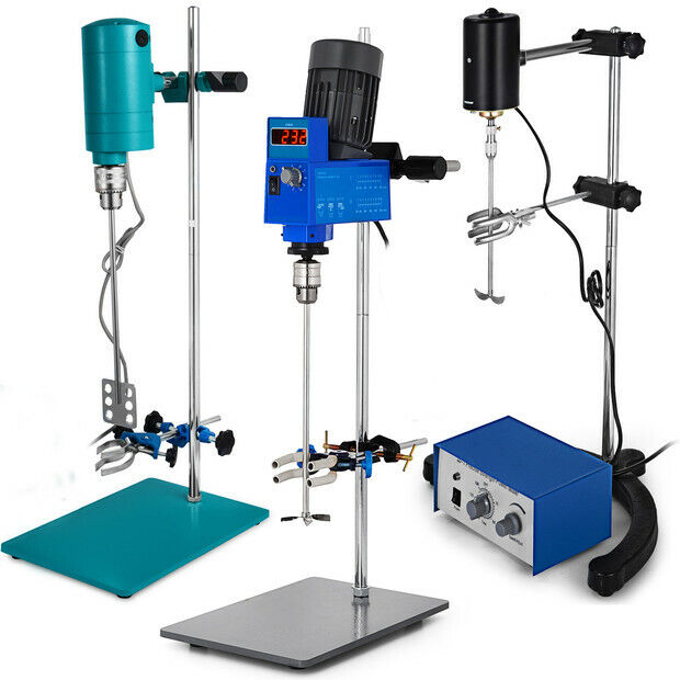 Electric Overhead Stirrer Mixer Variable Speed Steel Shaft Lab Variable Speed