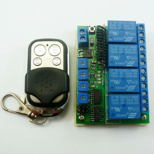 DC 12V 4CH 433M Delay Timer RF Wireless Relay Controller Switch & EV1527 remote