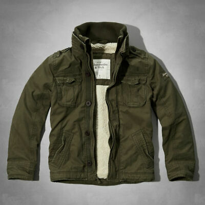 NWT ABERCROMBIE & FITCH A&F Men's MOUNT ARMSTRONG SHERPA JACKET COAT in OLIVE~ L