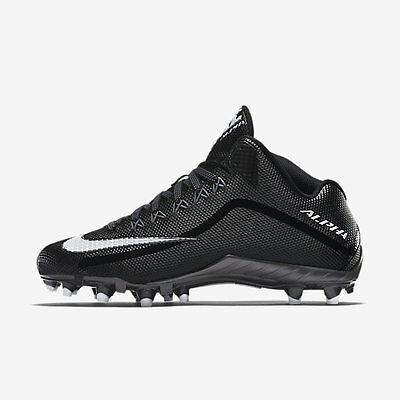 3021f609bb25 $100 NIKE Alpha Pro 2 TD 3/4 Football Lacrosse Cleats Mens BLACK WHITE Sz 12
