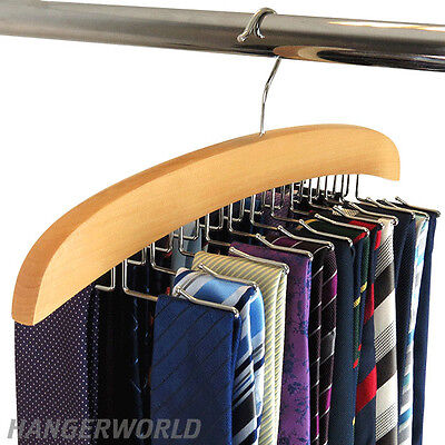 Wood Tie Hanger - Hangerworld™ Wooden Tie Hanger Accessory Organizer Jewellery Rack Gift
