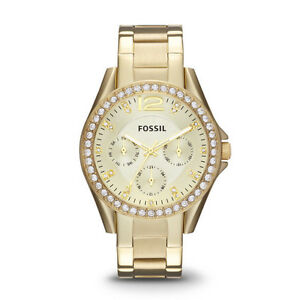 Fossil Women's ES3203 Riley Gold-Tone Stainless Steel Watch with