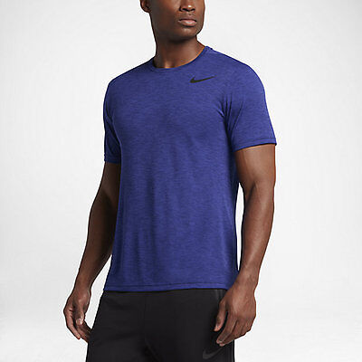 (Nike Breathe Men's Short Sleeve Training Shirt S Blue Purple Top Gym Casual New)