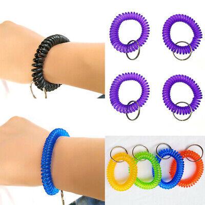 10Pcs Plastic Stretch Coil Spiral Bracelet Retractable Spring Key Chain - Spiral Keychain Bracelet