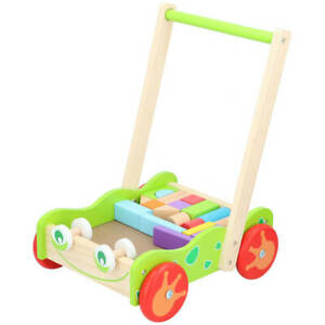 Baby Wooden Walker and Bricks Activity Block Cart Learning Toddler Colourful Toy