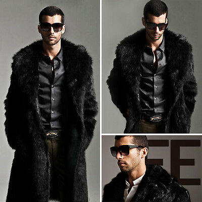 luxe homme fausse fourrure manteau chaud long veste d. Black Bedroom Furniture Sets. Home Design Ideas