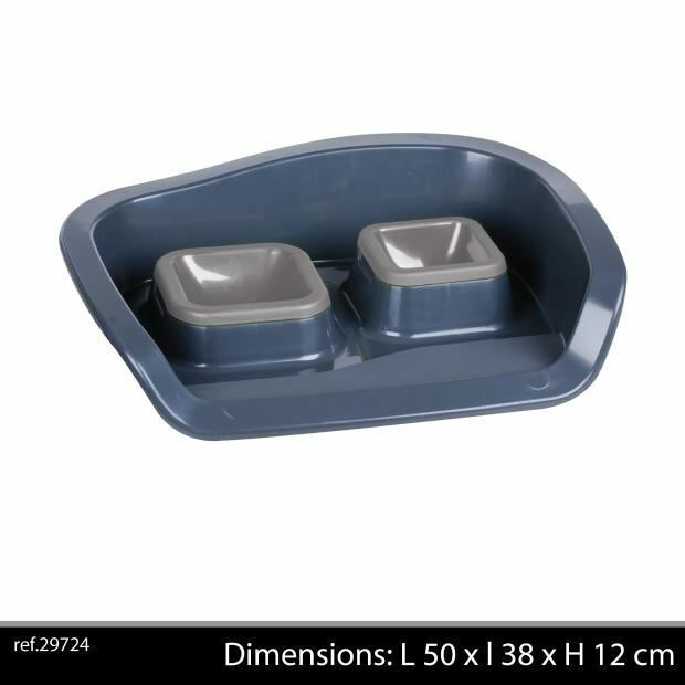 Pet+Bowl+Double+With+Tray+Grey