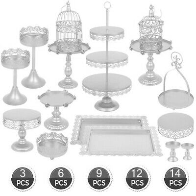 3/6/9/12/14Pcs Cake Holder Cupcake Stand Metal Baby Shower Wedding With