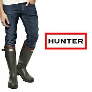 NEW HUNTER BOOTS MENS 10 257112499 BALMORAL OLIVE ZIP UP WELLIES WELLINGTON RAIN BOOT SHOES