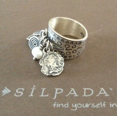- Silpada R1902 .925 Sterling Silver Pearl Stamped Coin Cha Cha Ring Size 6 CUTE!!