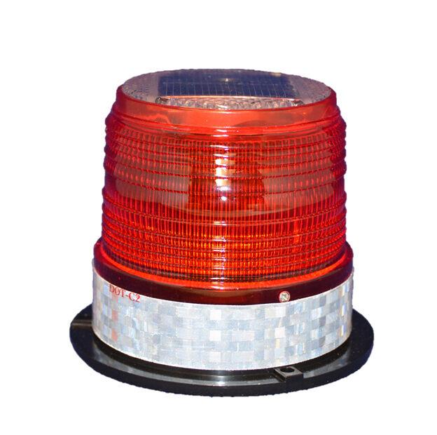 S6LM RED MEDIUM SOLAR LED FLASHING BEACON Dock Barge Tower Crane Safety
