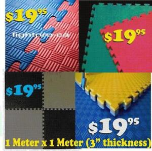 PUZZLE INTERLOCKING MAT,1 METER X 1 METER X 2.5CM THIKNESS, GREAT FOR BASEMENT, KARATE DOJO,(905) 364-0440 FIGHTPRO.CA