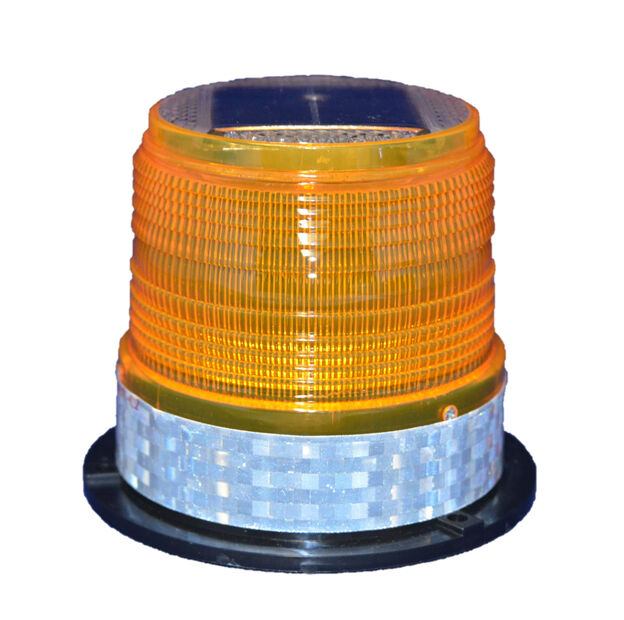 S6LM AMBER YELLOW MEDIUM SOLAR LED FLASHING BEACON Dock Barge Tower Crane Safety
