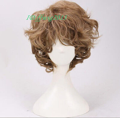 Men Short curly Wig Brown Synthetic Natural Full Wigs +a wig cap (Mens Brown Wig)