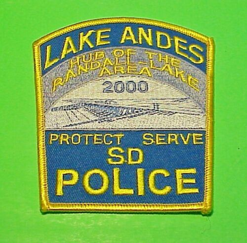 """LAKE ANDES SD  HUB OF THE RANDALL - LAKE AREA  4"""" POLICE PATCH  FREE SHIPPING!!!"""