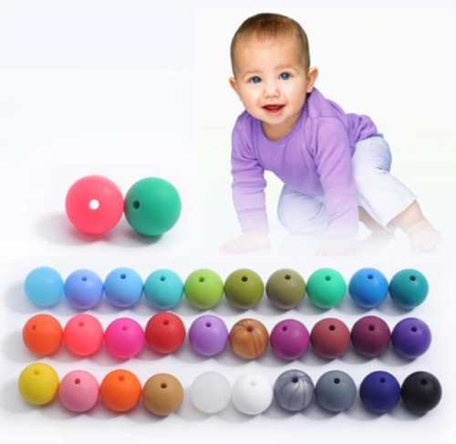 20Pcs Mixed Color Silicone Beads Loose Teething Chew Teething Necklace Teether