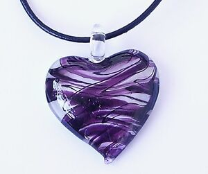 1 x LAMPWORK GLASS HEART SQUARE LARGE PENDANT - ALL SIZES & COLOURS