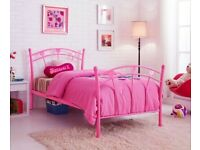 Single Bed Frame 3FT Pink Metal for Children's Kids Girl with mattress
