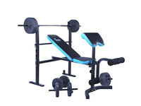 Men's health folding workout bench with 35kg weights brand new in box never opened or used