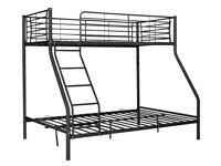 Black metal triple bunk bed