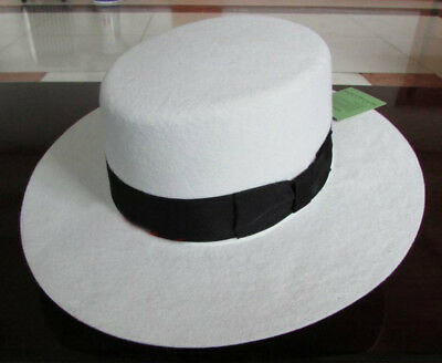 Boater Porkpie Flat Top Crown Fedora Hat For man/woman White/Red 100% Wool  (Top Hats Cheap)