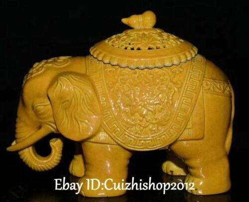 Qing Dynasty Yellow Glaze Porcelain Elephant Animal Pot Jar Crock Incense Burner