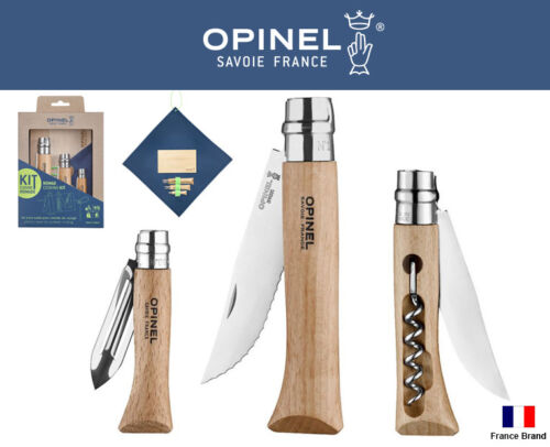 Opinel France 3 Style Folding Knife Nomad Cooking Kit With Chopping Board Napkin