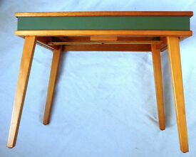 Vintage 1950's 1960's ? Picnic Table / Folding Table. Very unusual design with green top & sides